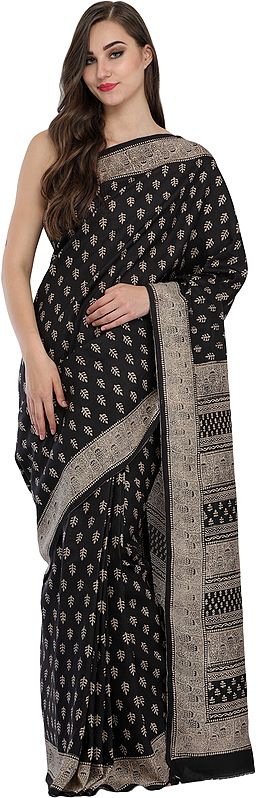 Jet-Black Sari from Madhya Pradesh with Kalamkari Print