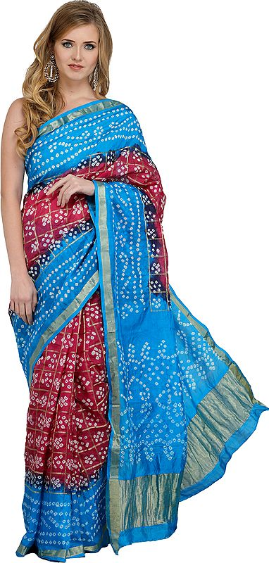Malaga and Blue Bandhani Tie-Dye Gharchola Sari from Jodhpur with Golden Thread Weave
