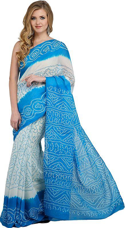 White and Blue Bandhani Tie-Dye Marwari Sari from Jodhpur
