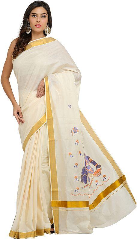 Kasavu Puja Sari from Kerala with Embroidered Krishna on Pallu