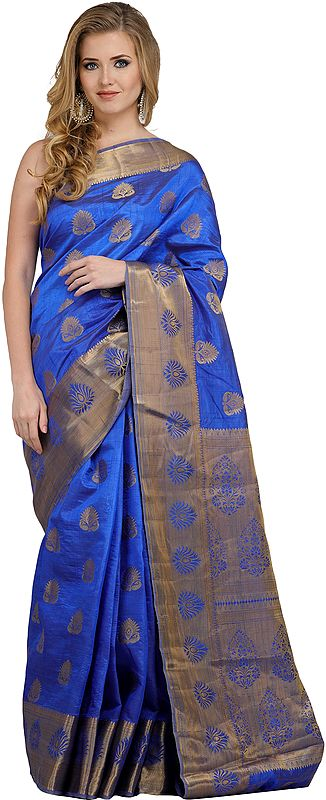 Dazzling-Blue Traditional Sari from Banaras with Brocaded Bootis