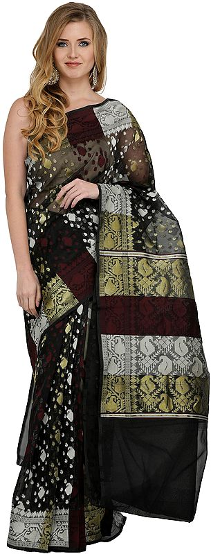 Phantom-Black Tangail Sari from Bangladesh with Woven Paiselys and Bootis All Over