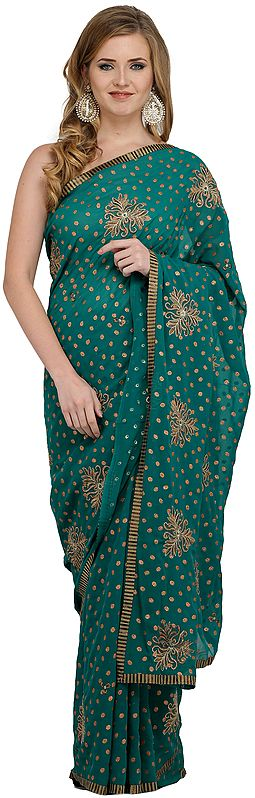 Cadmium-Green Georgette Wedding Sari with Embroidered Bootis
