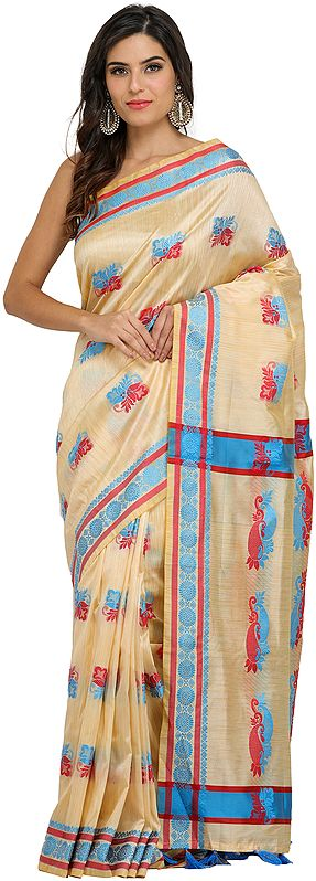 Beige Sari from Assam with Auspicious Woven Bootis and Florals on Border