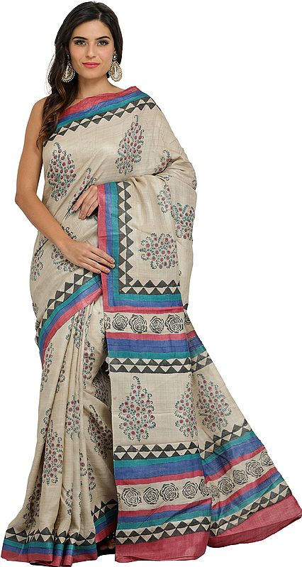 Wood-Ash Kosa Sari from Jharkhand with Printed Roses and Bootis