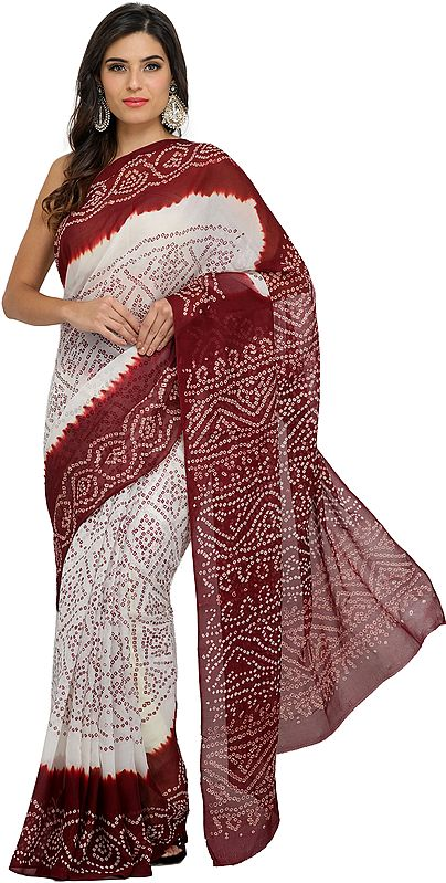 White and Maroon Shaded Bandhani Tie-Dye Sari from Marwar in Rajasthan