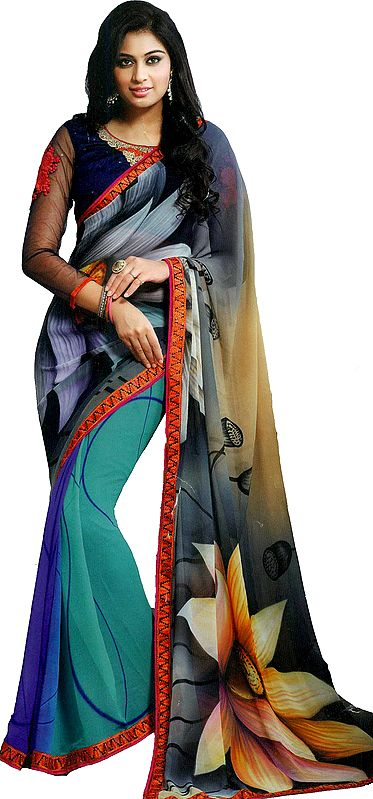 Multicolor Printed Georgette Sari with Floral Patch Border