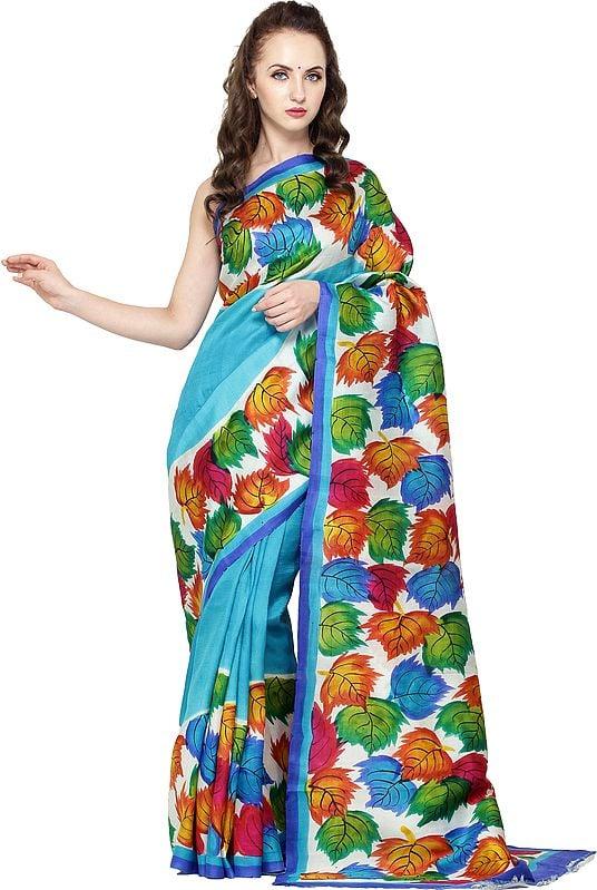 Hawaiian-Ocean Printed Sari from Kolkata with Multi-Color Leaves on Border and Pallu