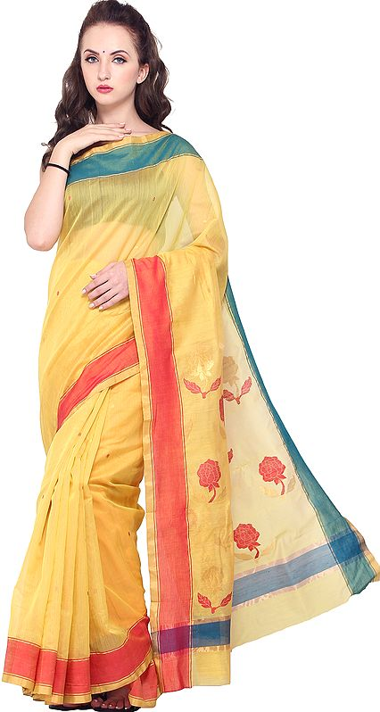 Aspen-Gold Chanderi Sari with Woven Bootis and Roses on Pallu