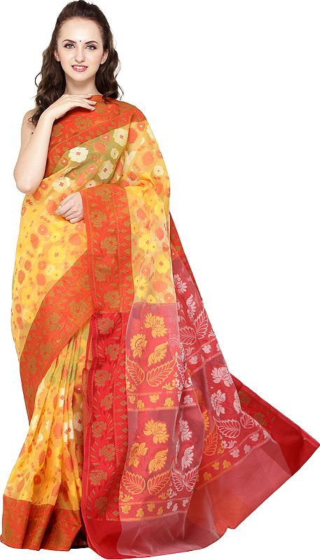 Amber-Yellow Dhakai Handloom Sari from Bangladesh with Woven Florals and Bootis All Over