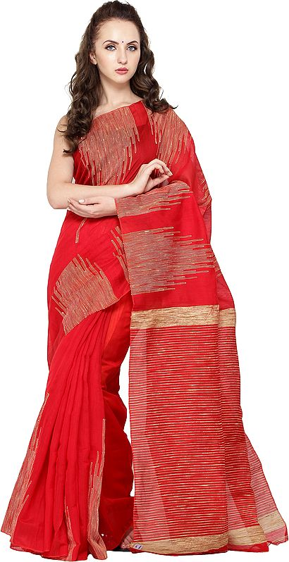 Rococco-Red Purbasthali Sari from Bengal with Woven Temple Border and Stripes on Pallu