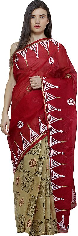 Flame Scarlet-Red and Beige Printed Batik Sari from Madhya Pradesh with Painted Border and Anchal