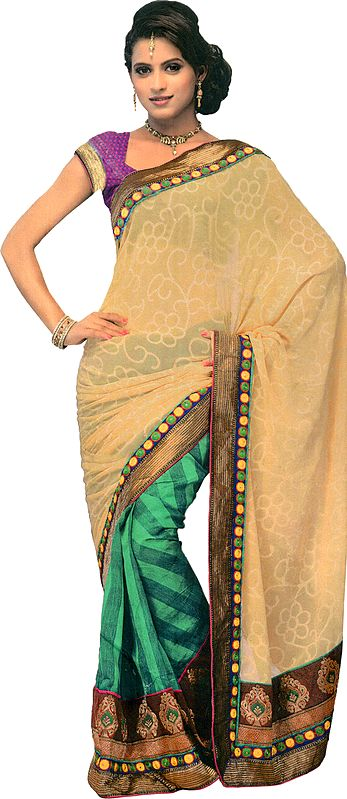 Beige and Green Sari from Surat with Patch Border and Woven Bootis