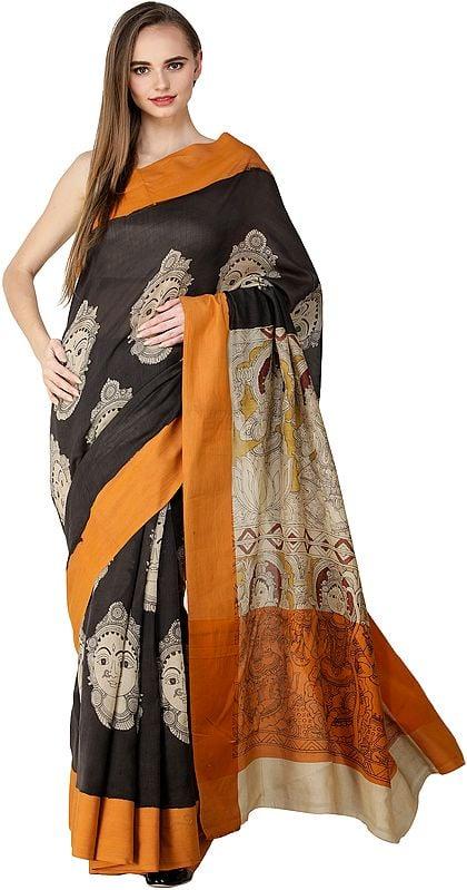 Pirate-Black Kalamkari Sari with Goddess Lakshmi Printed on Aanchal