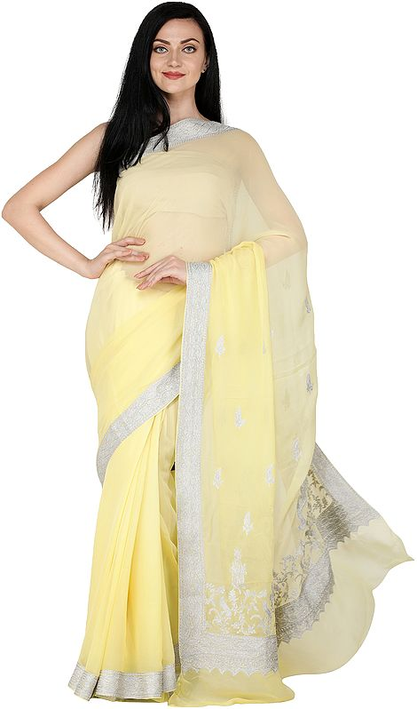 Yellow-Cream Sari from Kashmir with Silver Zari Thread Embroidered Border