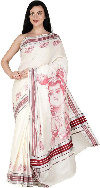 Kasavu Sari from Kerala with Woven Border and Printed Little Krishna (Baal Gopal)