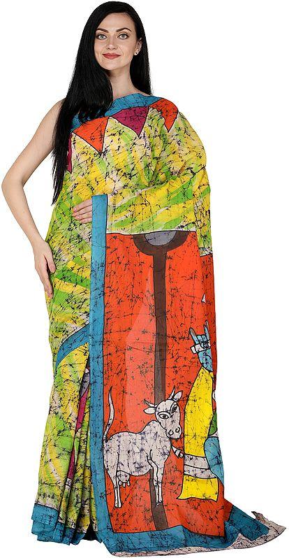 Multicolor Batik Sari from Madhya Pradesh with Printed Krishna with Cows (Gopala)
