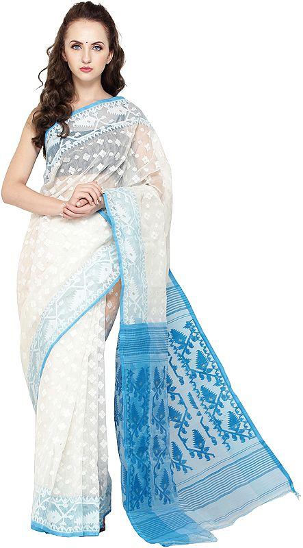Ivory and Vivid-Blue Jamdani Sari from Bangladesh with Woven Bootis All-Over