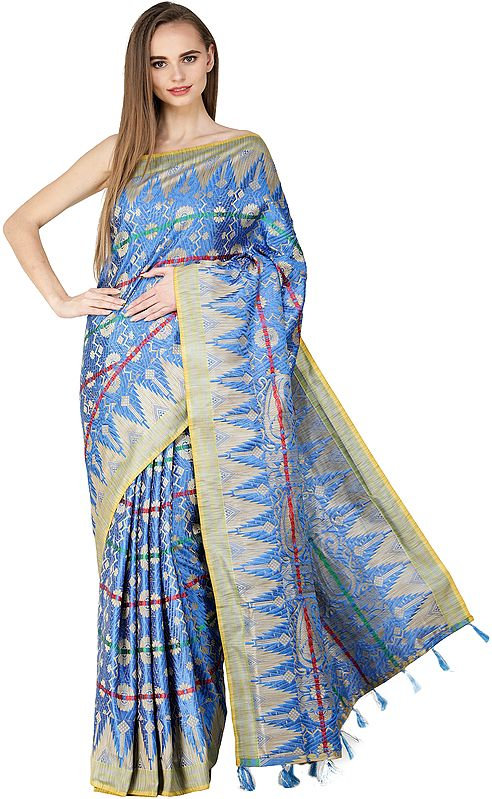 Malibu-Blue Embroidered Sari from Assam with Woven Temple Border and Bootis