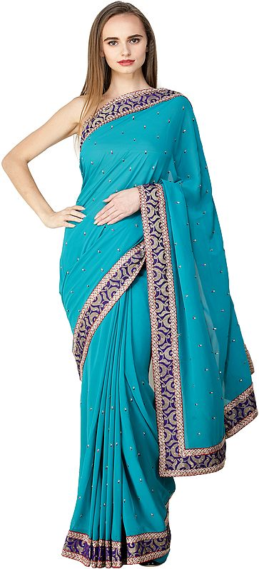 Lake-Blue Georgette Sari with Patch Border and Crystals All-Over
