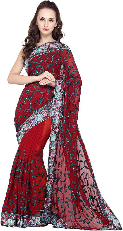 Deep-Claret Georgette Sari with Stones Embellished Floral Patch Border and Sequins