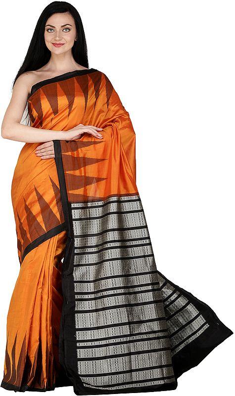 Dark-Cheddar Handloom Bomkai Sari from Orissa with Temple Border and Fishes Woven on Pallu