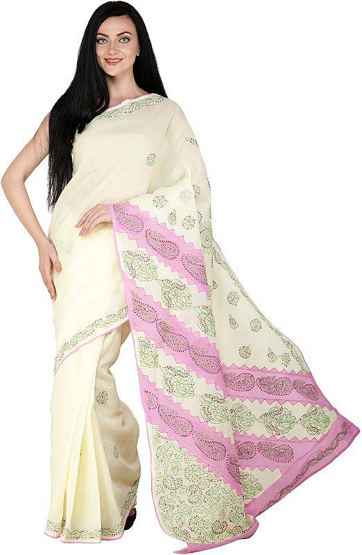 Lukhnavi Chikan Sari with Hand-Embroidered Flowers and Paisleys