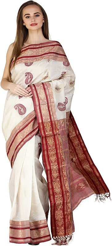 Deep-Claret and Beige Dhakai Sari from Bengal with Woven Paisleys and Brocaded Border