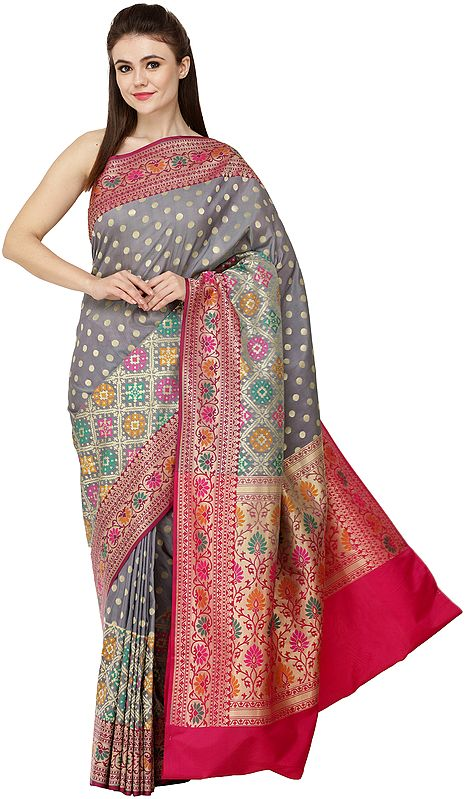 Traditional Brocaded Sari from Banaras with Woven Bootis and Floral Border