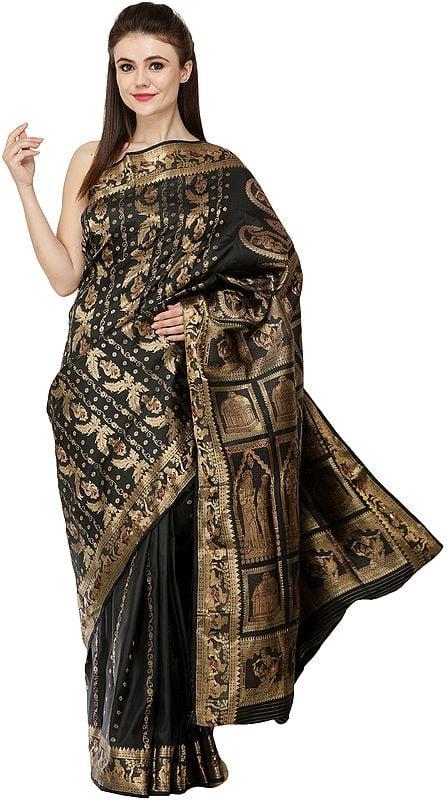 Caviar-Black Baluchari Sari from Bengal Showing the Story of Dushyant and Shakuntala and Love Gods Kamadeva and Rati