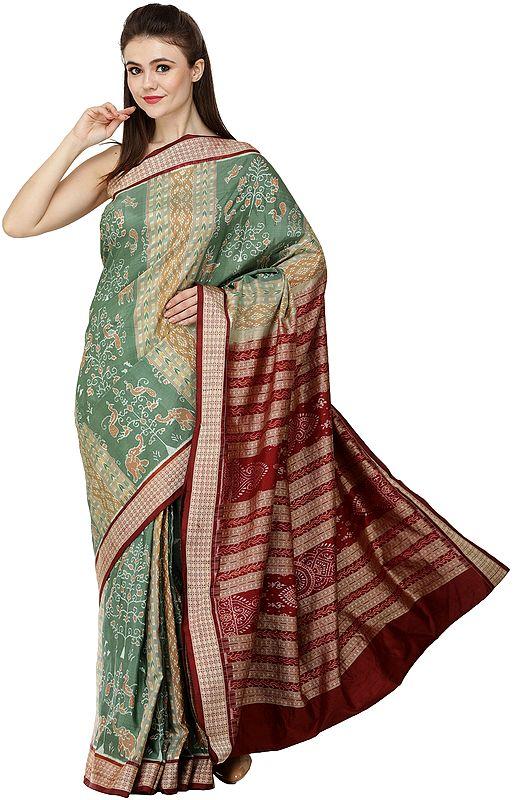 Frosty-Spruce and Maroon Sambhalpuri Handloom Sari from Orissa with Ikat Woven Peacocks and Elephants