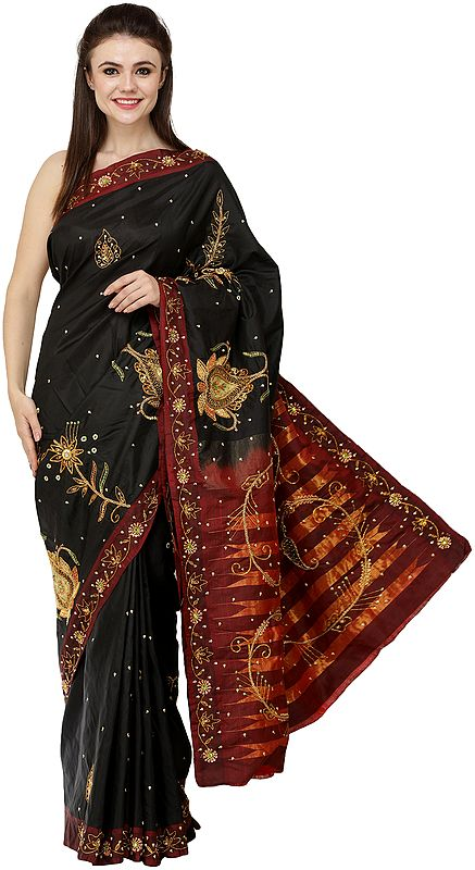Phantom-Black Zari-Emboidered Chalukya Sari with Stones and Sequins Embellished Florals All-Over