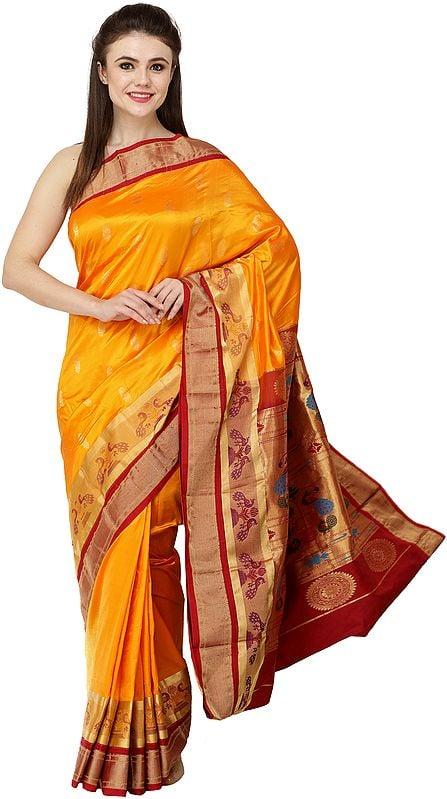 Radiant-Yellow Uppada Sari with Paithani Pallu and Peacocks on Border