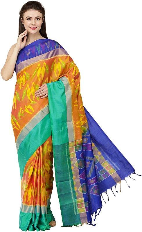 Multi-Colored Uppada Sari from Deccan with Ikat Weave