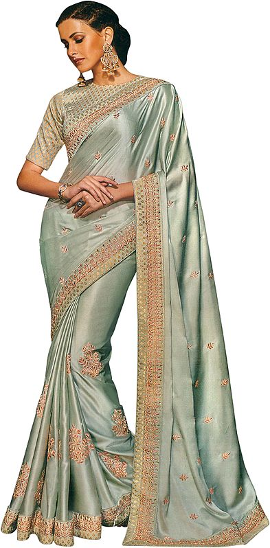 Storm-Gray Designer Sari with Floral Embroidery in Peach Thread and Crystals