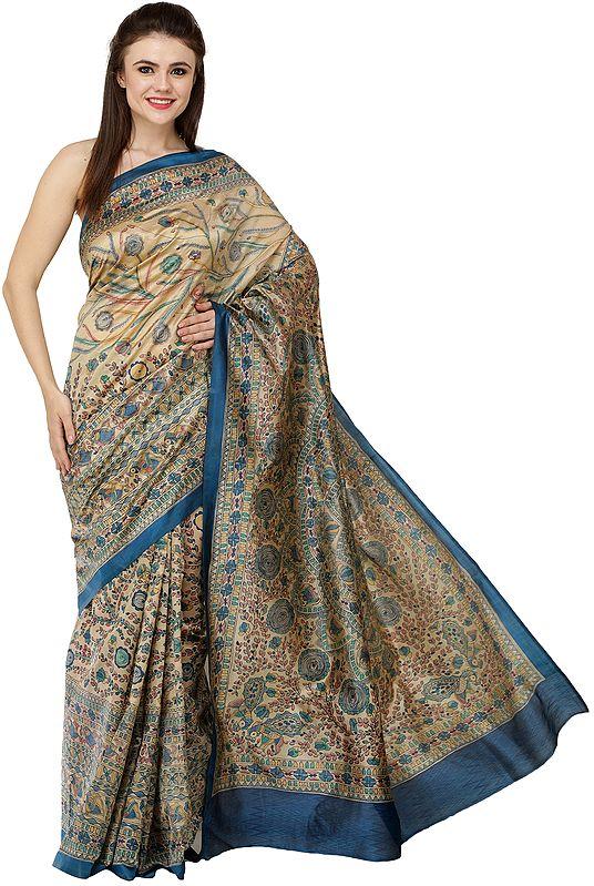 Deep-Water Sari with Printed Madhubani Motifs and Kohbar on Pallu