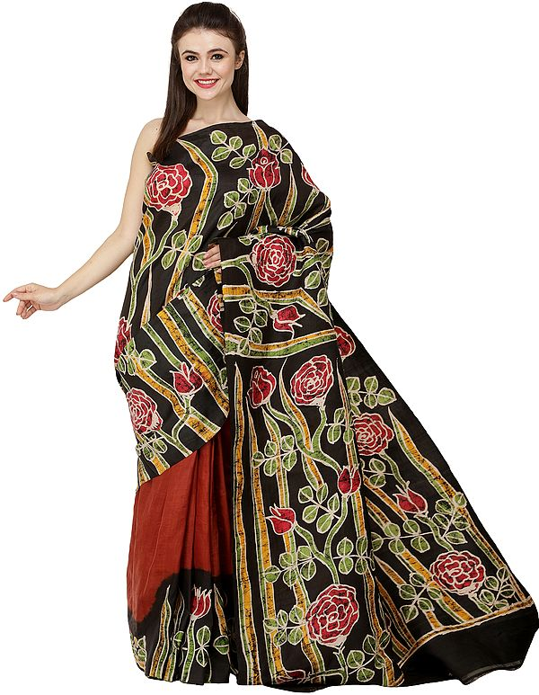Caramel and Black Handloom Batik Sari from Madhya Pradesh with Printed Roses