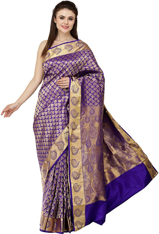 Deep-Blue Brocaded Sari from Bangalore with Zari-Woven Paisleys and Bootis All-Over