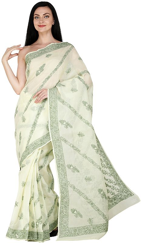 Citron Lukhnavi Chikan Sari with Hand-Embroidered Flowers All-Over