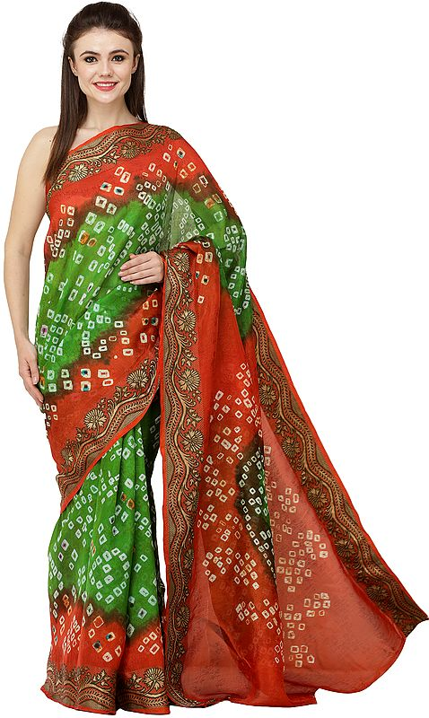 Tigerlily-Orange and Green Bandhani Tie-Dye Sari from Gujarat with Zari Thread Woven Bootis and Flowers