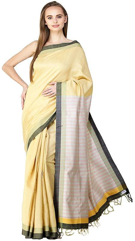 Dusky-Citron Kosa Sari from Bengal with Woven Stripes on Pallu