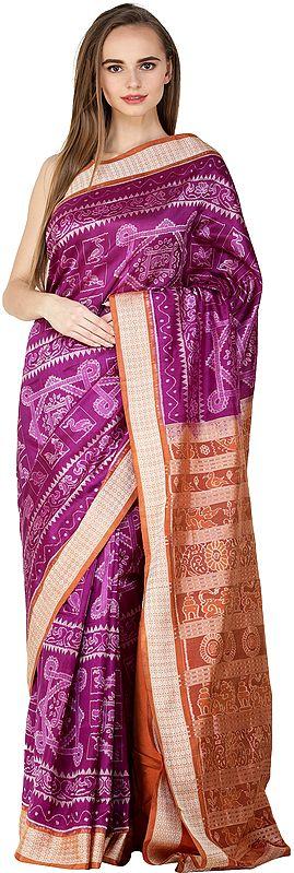 Sparkling-Grape Auspicious Sambhalpuri Handloom Sari from Orissa with Ikat Woven Peacocks and Elephants
