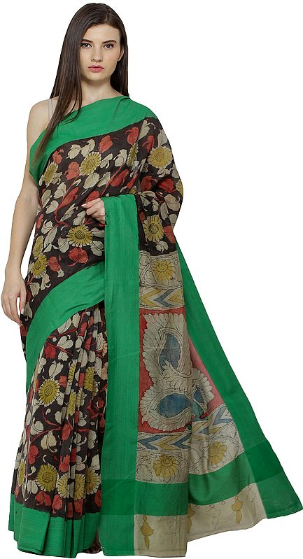 Mojave and Green Kalamkari Sari from Seemandhra with Painted Flowers and Peacocks