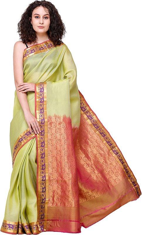 Linden-Green Brocaded Hadloom Kora Sari from Banaras with Diamond Weave and Zari Pallu