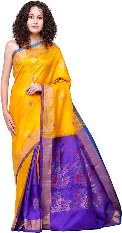 Saffron Uppada Sari from Bangalore with Zari-Weaved Flowers