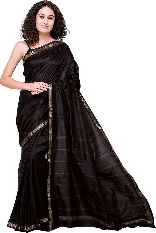 Plain Uppada Handloom Sari from Bangalore with Zari-Woven Border