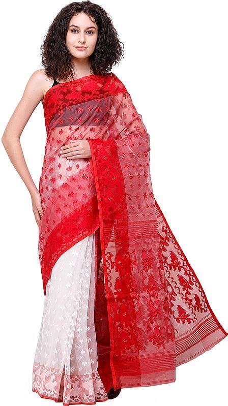 Red and White Jamdani Handloom Sari from Bangladesh with Woven Bootis All-Over