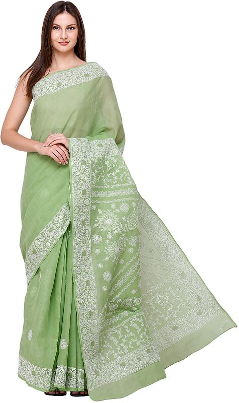 Tendril Lukhnavi Chikan Sari with Hand-Embroidered White Flowers and Paisleys
