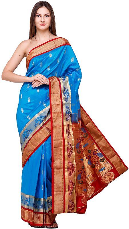 Blue-Jewel Brocaded Paithani-Uppada Fusion Sari from Bangalore with Hand-woven Peacocks on Anchal and Border
