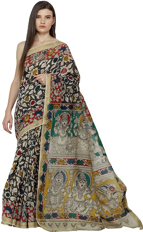 Sea-Mist Kalamkari Sari from Telangana with Dashaavatar Vishnu on Pallu